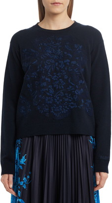 Valentino Embroidered Delft Wool & Cashmere Sweater
