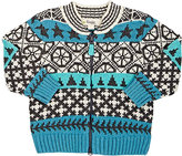 The Bonnie Mob Fair Isle Chunky-Knit Cotton-Blend Cardigan-BLUE