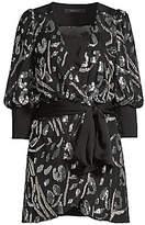 BCBGMAXAZRIA Women's Abstract Sequin Blouson Mini Wrap Dress