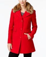Kate Spade Faux-Fur-Collar Wool-Blend Peacoat