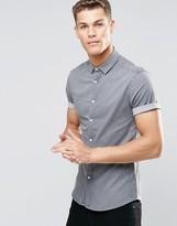 Asos Skinny Denim Shirt In Light Gray With Short Sleeves