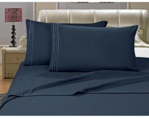 Elegant Comfort 1500 Series 4-Piece Bed Sheet Set - California King, Navy Blue Bedding