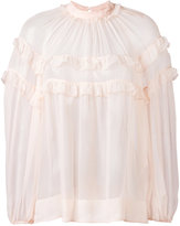 No.21 ruffled sheer blouse