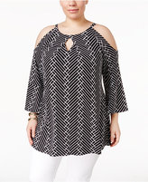 Alfani Plus Size Printed Off-The-Shoulder Top, Only at Macy's