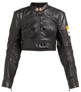 Marine Serre Cropped Upcycled-leather Jacket - Womens - Black