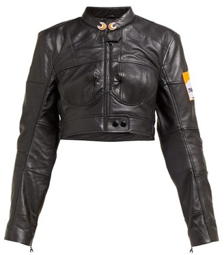 Marine Serre Cropped Upcycled-leather Jacket - Black