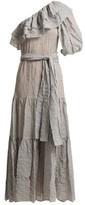Lisa Marie Fernandez Arden Ruffle-trim Cotton-blend Dress - Womens - Black Stripe