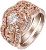 Rose Plated Bridal Wedding Engagement Band Ring Set Ginger Lyne Collection