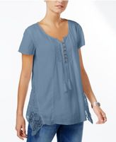 Style&Co. Style & Co Crochet-Trim Handkerchief-Hem Top, Only at Macy's