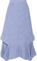 Chalayan Cutout Striped Cotton-poplin Midi Skirt - Blue