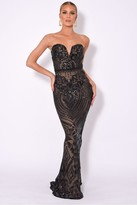 Nazz Collection NAZZ COLLECTION KENZA LUXE SWEETHEART PLUNGE SEQUIN EMBELLISHED DRESS