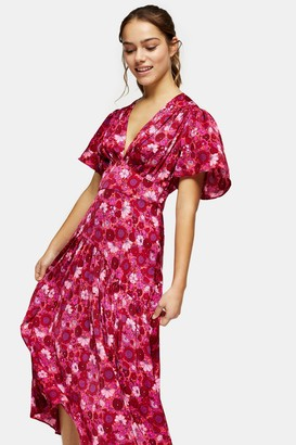 Topshop Womens Petite Willow Pink Floral Print Angel Sleeve Midi Dress - Pink