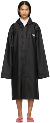 Vetements Black Limited Edition Logo Print Raincoat