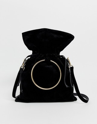 Urban Code Urbancode real leather slouchy bag with overiszed ring handle and strap-Black