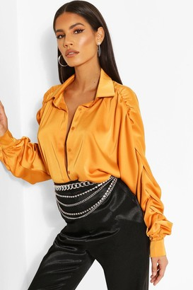 boohoo Woven Rouched Sleeve Shirt