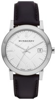Burberry Check Stamped Round Dial Watch, 38mm