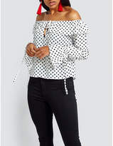 Missguided Polka dot-print off-the-shoulder woven blouse