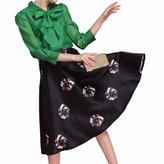 QIYUN.Z Women Charming High Waist Large Hem Black Pleated Knee Length Tulle Skirts Jupes