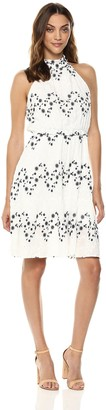 J.o.a. Women's Halter Ruffle Eyelet Mock Neck MIDI Dress White/Navy XS