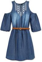 Sequin Hearts Cold-Shoulder Belted Denim Dress, Big Girls (7-16)