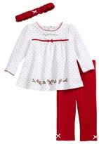 Little Me Infant Girl's Holly Holiday Tunic, Leggings & Headband Set