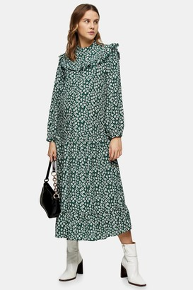 Topshop Womens **Maternity Green Animal Print Shirt Dress - Green