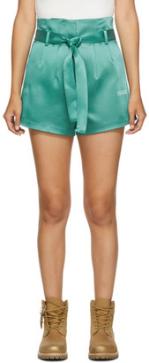 Off-White Green Satin Paperbag Shorts