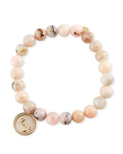 e82ace4f52c9d 14k Love Medallion & Pink Opal Bracelet