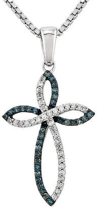 Silver Cross Fine Jewelry 1/5 CT. T.W. White and Color-Enhanced Blue Diamond Sterling Pendant Necklace