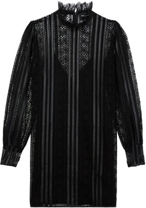 The Kooples Robe Highneck Sheer Dress