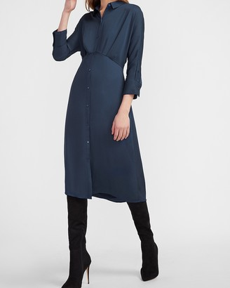 Express Button Front Midi Shirt Dress