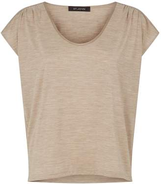 St. John Silk Scoop-Neck T-Shirt
