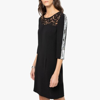 Anne Weyburn Guipure Lace Shift Dress with Long Sequined Sleeves and Bow