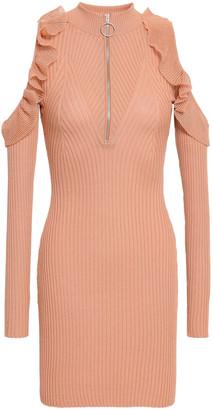 Self-Portrait Cold-shoulder Ribbed Cotton-blend Mini Dress