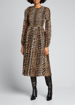 Ganni Leopard Printed Georgette Smocked-Bodice Midi Dress