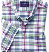 Charles Tyrwhitt Slim fit poplin short sleeve pink and green check shirt