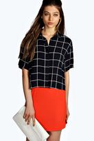 Boohoo Catherine Grid Print Boxy Short Sleeve Shirt