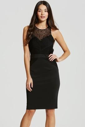 Little Mistress Black Embellished Pleat Bodycon Midi Dress