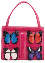 Nancy Gonzalez Small Butterfly Stripe Crocodile Frame Bag, Pink Multi