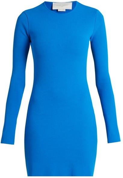 Esteban Cortazar Cut Out Back Crepe Knit Dress - Womens - Blue