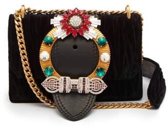 Miu Miu Miu Lady Matelasse Velvet Cross-body Bag - Womens - Black