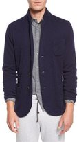 Brunello Cucinelli Cashmere Three-Button Knit Jacket, Blue