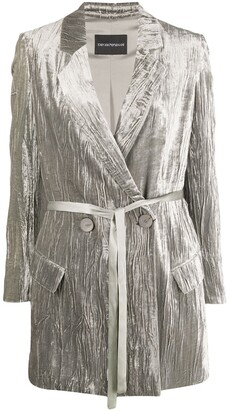 Emporio Armani Wrinkle-Effect Double-Breasted Blazer