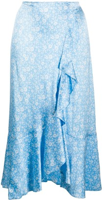 Ganni Asymmetric Satin Skirt