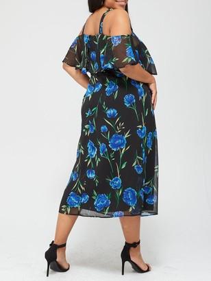 V By Very Curve Cold Shoulder Chiffon Dress - Print