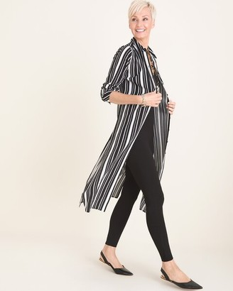 Chico's Chicos Long Striped-Mix Tunic Shirt