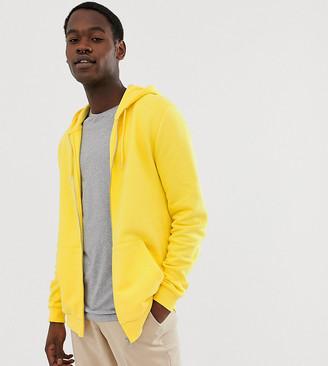 Asos Design DESIGN Tall zip up hoodie in yellow