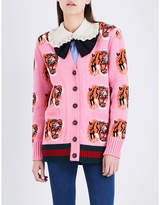 Gucci Tiger-embroidered wool cardigan
