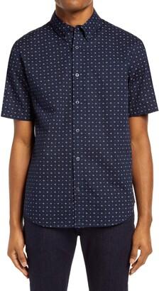 Club Monaco Slim Fit Floral Short Sleeve Button-Down Shirt