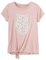 Miss Chievous Girls 7-16 Embellished Crochet Applique Tie-Front Tee